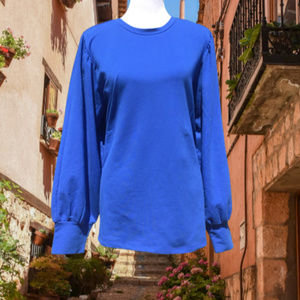 Eloquii Long Puff Sleeve Top Stretch Blue 18/20